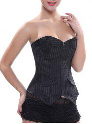 Back Lace-Up Zippered Striped Corset Top - BLACK