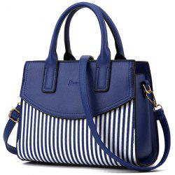 Letter Embossed Striped PU Leather Handbag - DEEP BLUE