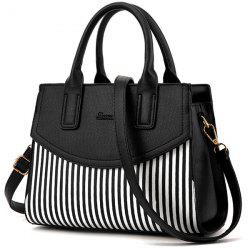 Letter Embossed Striped PU Leather Handbag