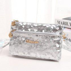 Stone Pattern Multi Zips PU Leather Clutch Bag - SILVER