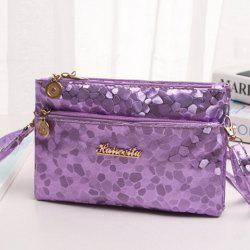 Stone Pattern Multi Zips PU Leather Clutch Bag - PURPLE