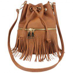 Metallic Zip Fringe Crossbody Drawstring Bag