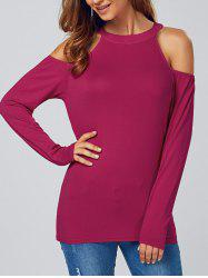 Open Shoulder Long Sleeve T-Shirt