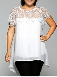 Lace Spliced Plus Size Chiffon High Low Blouse - WHITE