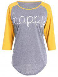 Happy Letters Print Raglan Sleeve T-Shirt - YELLOW S