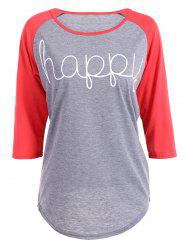 Happy Letters Print Raglan Sleeve T-Shirt - RED S