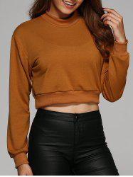 Round Neck Cropped Sweatshirt - EARTHY