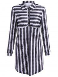 Striped Long Sleeve Shirt Dress