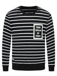 Crew Neck Letter Printed Striped Sweatshirt -