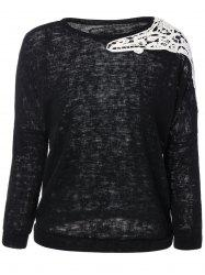Laciness Splicing Knitwear - BLACK XL