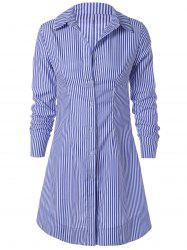 Striped Long Sleeve Button Down Polo Shirt Dress