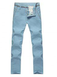Zipper Fly Slimming Straight Leg Pants - LIGHT BLUE 33