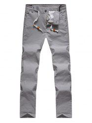 Zipper Fly Drawstring Design Straight Leg Pants -