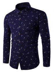 Tiny Leaf Print Breast Pocket Fleece Lined Shirt -