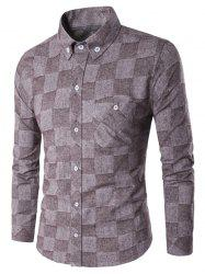 Fleece Lined Grid Texture Button-Down Shirt