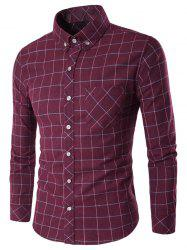 Long Sleeve Grid Button-Down Shirt - WINE RED 2XL