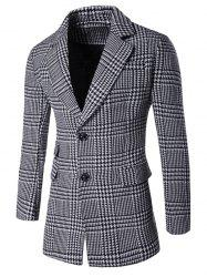 Notch Lapel Flap Pocket Back Vent Houndstooth Tartan Coat - GRAY 3XL