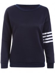 Striped Applique Pullover Sweatshirt