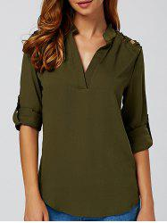 Cut Out V Neck Tunic Blouse