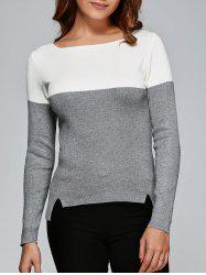 Two Tone High Low Front Slit Knitwear -