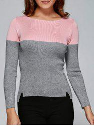 Two Tone High Low Front Slit Knitwear