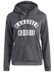 Drawstring Kangaroo Pocket Graphic Funny Hoodie - DEEP GRAY XL