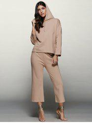 Long Sleeve Hoodie With Scrub Pants Twinset - APRICOT