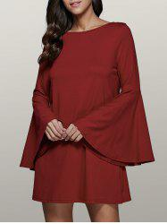 Bell Sleeve Short Tunic Dress - DARK RED