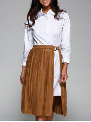 Shirt Dress With Faux Suede Pleated Skirt -