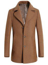 Turndown Collar Single Breasted Longline Wool Coat - CAMEL