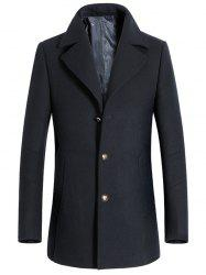 Turndown Collar Single Breasted Longline Wool Coat