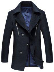 Turn-Down Collar Zipper Embellished Single-Breasted Wool Coat -