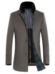 Stand Collar Thicken Single-Breasted Wool Coat -