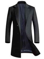Lapel Longline Single Breasted Wool Coat - GRAY