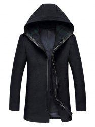 Hooded Zip Up Longline Wool Coat -