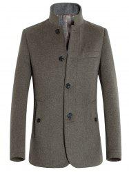 Stand Collar Slimming Single-Breasted Woolen Coat -