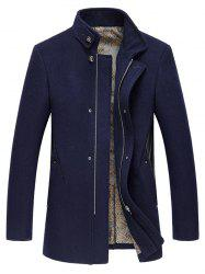 Pied de col Manteau broderie Zip-Up Woolen - Cadetblue 2XL