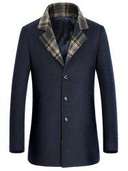 Turn-Down Collar Tartan Splicing Single-Breasted Woolen Coat