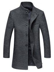 Stand Collar Single-Breasted Back Slit Woolen Coat - GRAY 3XL