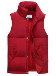 Casual Stand Collar Thicken Cotton-Padded Waistcoat - RED XL
