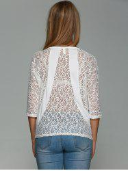 Three Quarter Sleeve Lace Back T-Shirt -
