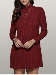 Long Sleeve High Collar Sweater Dress