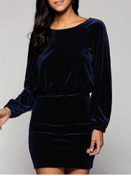 Long Sleeve Open Back Velvet Blouson Dress