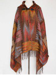Winter Ethnic Style Fringe with Hat Poncho -