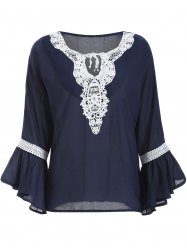 Guipure Lace Up Bell Sleeves Blouse - DEEP BLUE XL