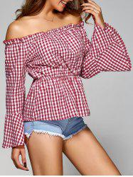 Off The Shoulder Flare Sleeve Plaid Blouse - RED M
