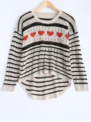 Striped Cut Out Sweater - BLACK