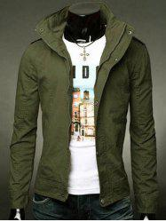 Stand Collar Epaulet Design Zip-Up Jacket -