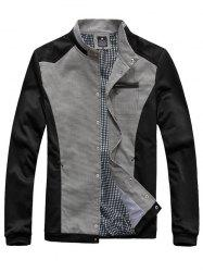 Checked Splicing Zipper Pocket Embellished Stand Collar Jacket
