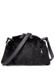 PU Leather Spliced Fuzzy Bag -